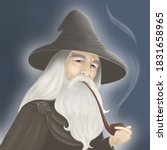 Good Old Wizard Smokes A Pipe