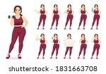 sport fitness plus size woman... | Shutterstock .eps vector #1831663708