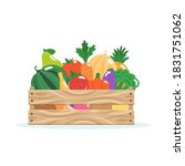 wooden box with fruits and...   Shutterstock .eps vector #1831751062