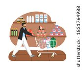Grocery Store. Man With Trolly...