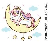 cute unicorn princess sleeping... | Shutterstock .eps vector #1831777462
