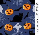 halloween seamless pattern with ...   Shutterstock .eps vector #1831778635