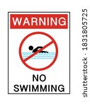 Warning No Swimming Text With...