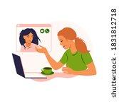 girl friends chat online. girl...   Shutterstock .eps vector #1831812718