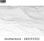3d wireframe terrain with... | Shutterstock .eps vector #183191522