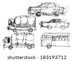 multiple cars and vehicle... | Shutterstock . vector #183193712