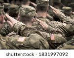 US military salute. US Army Soldiers. Memorial Day. Veterans Day. - stock photo
