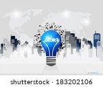 creative idea in light bulb as... | Shutterstock .eps vector #183202106