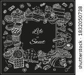 dessert frame  cake  pastry ... | Shutterstock .eps vector #1832050738