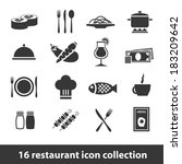 16 restaurant icon collection | Shutterstock .eps vector #183209642