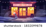 bar at winter  night cafe at... | Shutterstock .eps vector #1832099878
