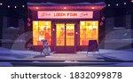 bar at winter  night cafe at...   Shutterstock .eps vector #1832099878