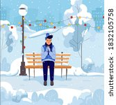 young man sitting on a bench in ... | Shutterstock .eps vector #1832105758