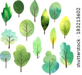 Set Of Different Trees Painted...