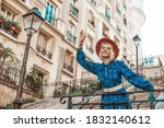 Happy  Smiling Tourist Woman...