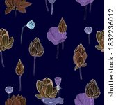 lotus flowers seamless pattern. ... | Shutterstock .eps vector #1832236012