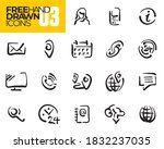 hand drawn icons. contact line... | Shutterstock .eps vector #1832237035