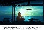 girl traveler in her hut works... | Shutterstock . vector #1832259748
