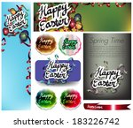 happy easter set | Shutterstock .eps vector #183226742