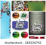 happy easter set | Shutterstock .eps vector #183226742