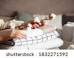 Small photo of Well groomed woman hands holding the cotton branch with pile of neatly folded bed sheets, blankets and towels. Production of natural textile fibers. Manufacture. Organic product.