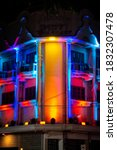 building with colorful light in ... | Shutterstock . vector #1832307478