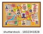 crime board with pins and... | Shutterstock .eps vector #1832341828