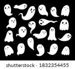 doodle cute ghosts halloween...   Shutterstock .eps vector #1832354455