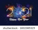 realistic fireworks 2021... | Shutterstock .eps vector #1832385325