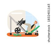 fitness gym. young man doing... | Shutterstock .eps vector #1832401165