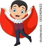 cartoon happy vampire isolated... | Shutterstock .eps vector #1832409652