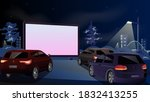 drive in cinema. open air cars... | Shutterstock .eps vector #1832413255