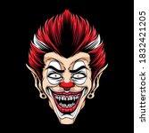 Scary Clown Head Vector Logo