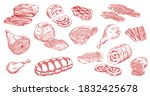 pork sausage  veal beef and...   Shutterstock .eps vector #1832425678