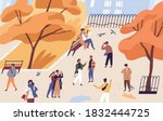 walking people spend time in... | Shutterstock .eps vector #1832444725