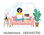 home office concept  woman... | Shutterstock .eps vector #1832452702