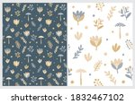 funny floral seamless vector...   Shutterstock .eps vector #1832467102