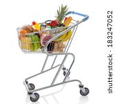 shopping trolley full of fresh... | Shutterstock . vector #183247052
