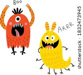 funny and cute monsters. vector ...   Shutterstock .eps vector #1832473945