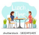 lunch time. isolated two woman... | Shutterstock .eps vector #1832491405