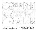 golden ratio set. isolated flat ... | Shutterstock .eps vector #1832491462