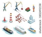 seaport equipment. isometric... | Shutterstock .eps vector #1832492158