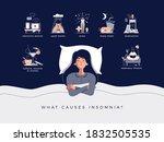 insomnia concept vector... | Shutterstock .eps vector #1832505535