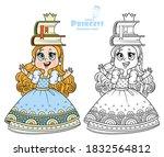 cute princess in blue dress... | Shutterstock .eps vector #1832564812