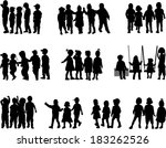 large group of children  ... | Shutterstock .eps vector #183262526