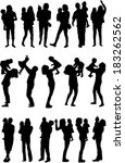 silhouette of parents and...   Shutterstock .eps vector #183262562