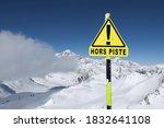warning sign 'hors piste' means ...   Shutterstock . vector #1832641108