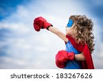 superhero kid against summer... | Shutterstock . vector #183267626