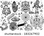 india collection  black white ... | Shutterstock .eps vector #183267902