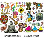 india collection colorful 2 ... | Shutterstock .eps vector #183267905
